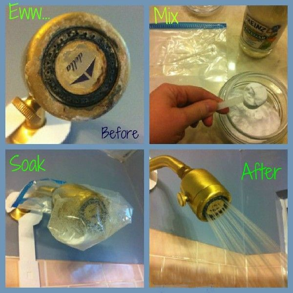 cleaning shower head with baking soda and vinegar