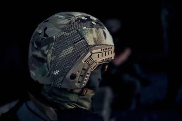 Wearing Ballistic Helmet